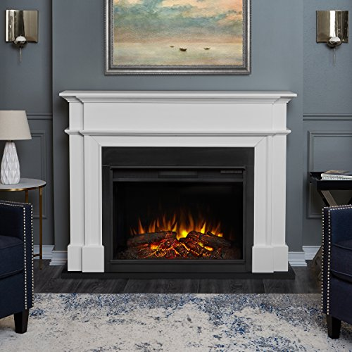 Real Flame 8060E Harlan Grand Electric Fireplace in White, Large,