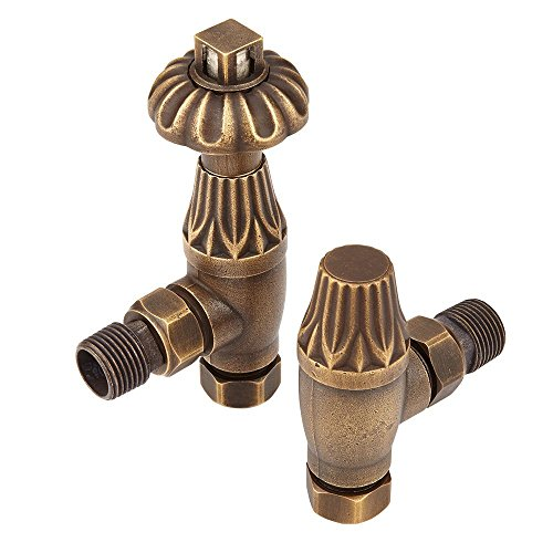 - Home Standard Westminster Traditional Antique Brass Angled Central Heating Radiator Valves 15mm (Pair) | Thermostatic | Solid Brass