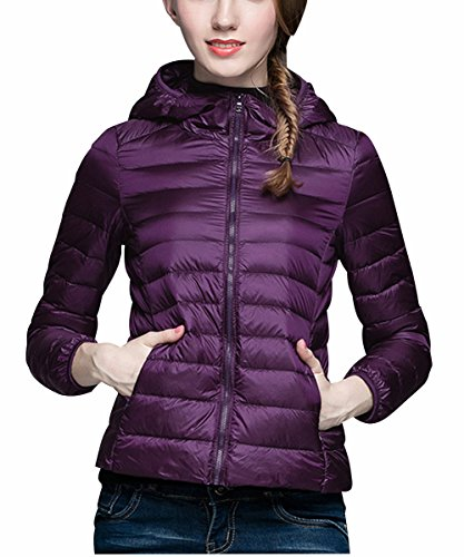 Purple Puffer - Ultralight Down Jacket Women Hooded Packable Short Down Jackets with Travel Bag (Purple,Tag 2XL=US L)