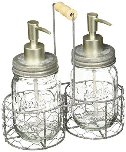 Mud Pie Fresh Jar Soap Pump Caddy, Silver ()