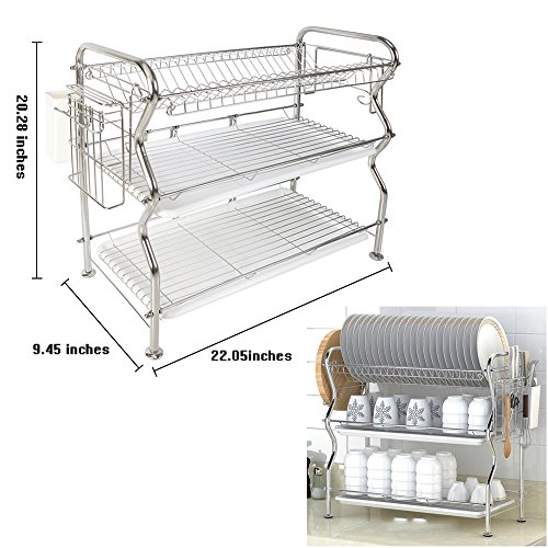 NEX Dish Rack 3-Tier Stainless Steel Dish Drainer Rack(304-2)