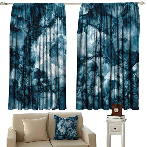 Distressed Nickel Stone - DUCKIL Customized Curtains Marble Antique Marble Stone with Blurry Distressed Motley Fractal Effects Illustration Artwork Noise Reducing Curtain W72 xL45 Blue