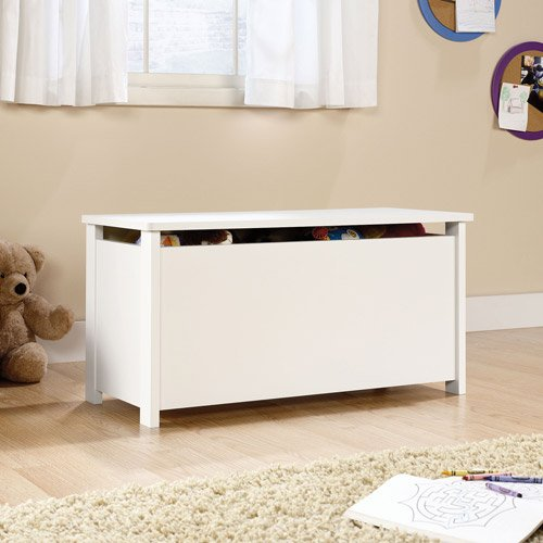 White wood Kids Storage Toy chest box with lid by Sauder Beginnings