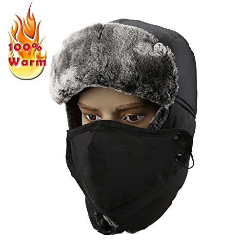 Allezola Warm Unisex Winter Trooper Hat with Russian Ear Flap Chin Strap Windproof Mask