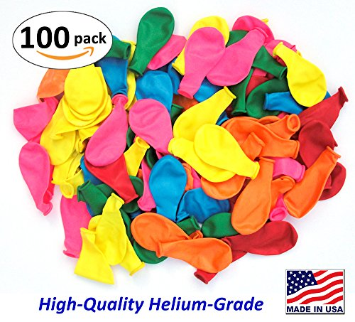 Yellow Assorted Balloon - Pack of 100, Assorted Bright Color Latex Balloons, MADE IN USA!