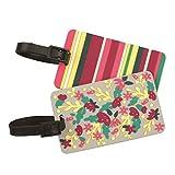 Gomangos Fashion Travelon Floral / Stripe Luggage ID Tags - Set of 2