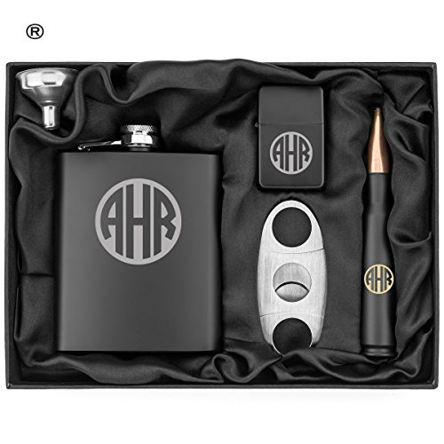 Circle Monogram Engraved Hip Flask, Funnel, Lighter, Cigar Cutter and 50 Caliber Bullet Bottle Opener Matte Black Gift Box 50 Cal Custom Personalized by Or Something (Image #1)