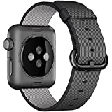 Apple Watch Band, HuanlongTM 2016 Newest Fine Woven Nylon Strap Replacement Wrist Band for Apple Watch iWatch(42mm Black)