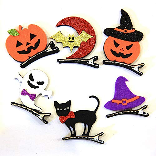 6 Pcs Halloween Hair Accessories Pumpkin, Witch, Cat, Bat, Ghost, Hat Halloween Hair Clips Halloween Party Supplies for Kids and -