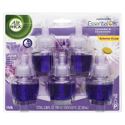 Air Wick Scented Oil Air Freshener, Lavender and Chamomile Scent, 5 Refills, 0.67 Ounce