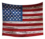 Vintage American Flag Tapestry USA Flag on Rustic Wooden Plank Tapestry Wall Hanging Art Home College Dorm Decor Wall Blanket Tapestries for Living Room Bedroom Bohemian Bedspread Ceiling Room 80''x60''