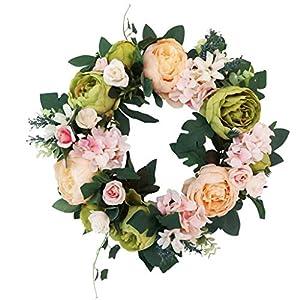 MagiDeal Simulation Silk Peony Flower Front Door Lintel Wreath Garland Home Wedding Decor 73