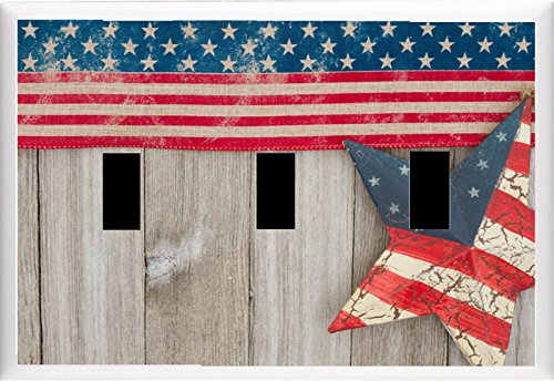 USA patriotic old flag and a star on a weathered wood background LIGHT SWITCH COVER PLATE OR OUTLET (3x (Flag Single Toggle Switch)