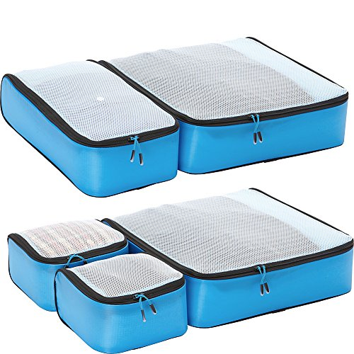 eBags Hyper-Lite Travel Packing Cubes - Lightweight Organizers - Super Packer 5pc Set - (Blue)