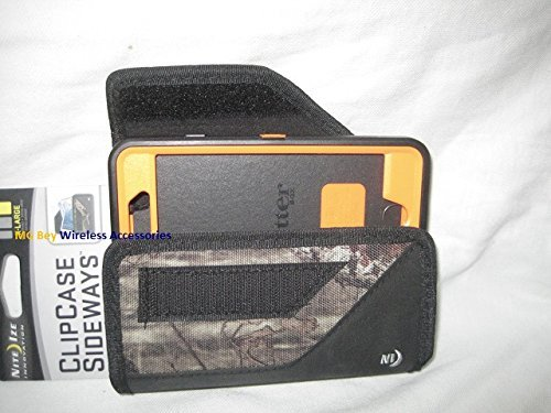 Nite Ize Extended Black/Camouflage Mossy Oak Sideways Horizontal Rugged Heavy Duty X-large Holster Pouch W/Durable Fixed Belt Clip Fits T-mobile / Metro Pcs Kyocera Hydro Wave