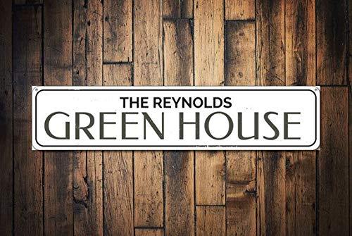 Green House Sign, Personalized Family Name Sign, Custom Garden Sign, Metal Patio Decor, Flower Garden Decor,Metal Sign, 4