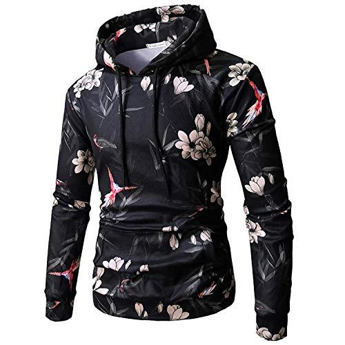 Mens Long Sleeve Floral Print Pullover Drawstring Hooded Sweatshirt Hoodies with Big Pockets (L)