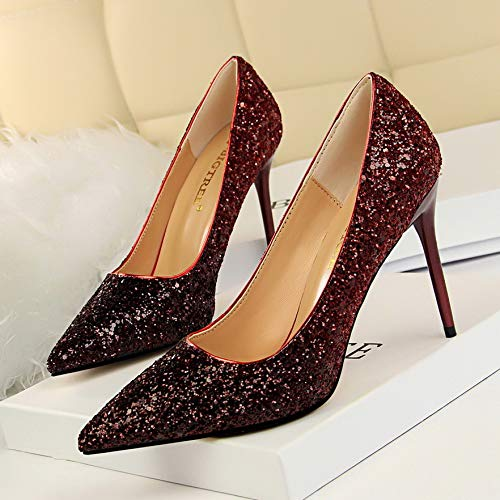Sequined Red Heel Pointed Rose High Female Fine High Single Gradient Shoes With Women'S Mouth Red Yukun heels Shallow Shoes 39 Crystal Wine EqStwR