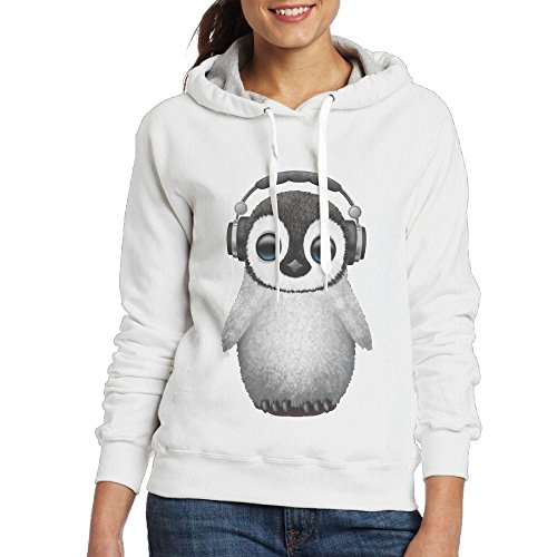 TEAMLI Cute Baby Penguin Dj Wearing Headphone Women's/Girl's Sport Leisure Slim Hoodie White
