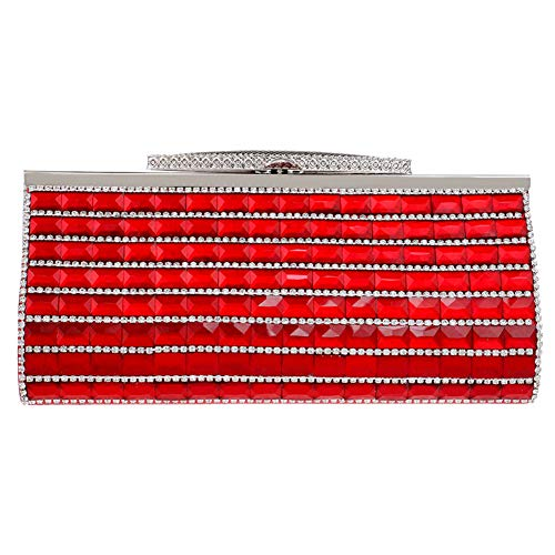 Womens Rhinestones Red Clutches Wedding Evening Purse For Handbags Chain Bags Dress qPcwEgfAv