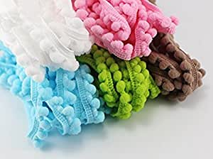 10yards 10mm Width Pom Pom Trim Ball Fringe Ribbon (5colors/pack 2yards/color)