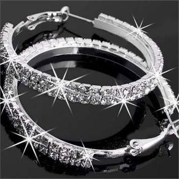 Rhinestone Sparky Diamante Crystal Silver Hoop Earrings Women Hoops Party - Hoop Abstract