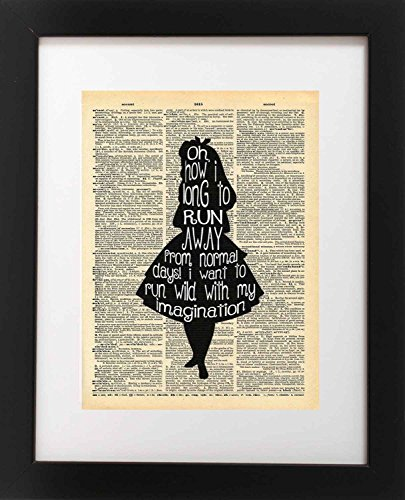 Alice in Wonderland Imagination Quote Vintage Dictionary Art Print 8×10 inch Home Vintage Art Abstract Prints Wall Art for Home Decor Wall Decorations For Living Room Bedroom Office Ready-to-Frame