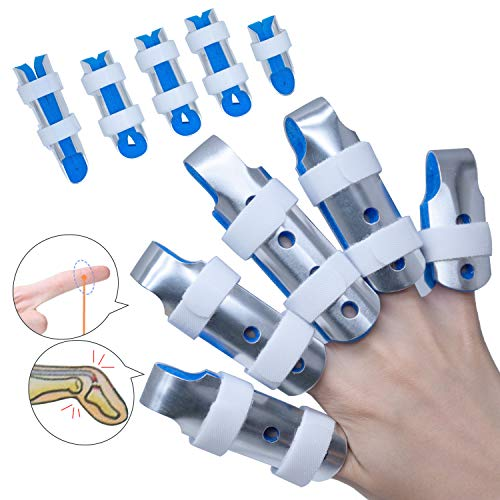 Sumifun Finger Splints, (5 Piece) Mallet DIP Finger Splints, Finger Support Brace, Finger Splints for Trigger Thumb Finger Immobilizer Joint Protection Finger Injury Protector