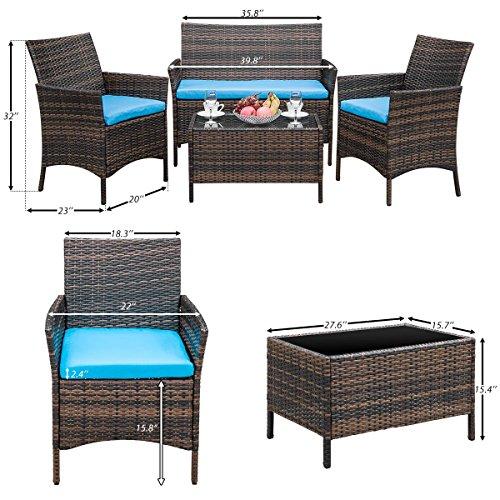 Leisure Zone 4 Pcs Patio Furniture Outdoor Garden