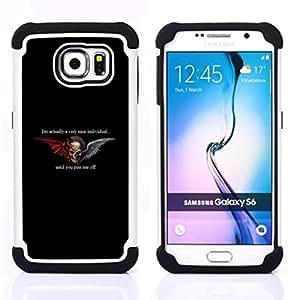 For Samsung Galaxy S6 G9200 - WINGS BLACK DEVIL HORNS ANGEL DUALITY Dual Layer caso de Shell HUELGA Impacto pata de cabra con im??genes gr??ficas Steam - Funny Shop -