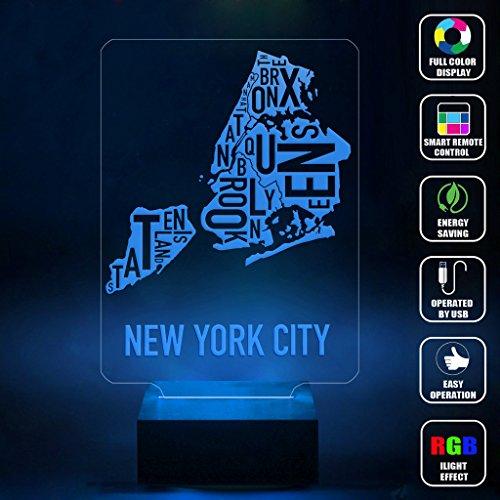 CMLART Handmade New York City Map Leter Art 3d Lamp RGB Full Color 44 Key Remote control LED Night Light Best Gift Desk Table Lighting Home Decoration Toys Iowa Led Desk Lamp