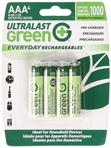 Ultralast ULGED4AAA AAA 4 Pack Green Precharged Ready-to-Use Rechargeable Batteries (Discontinued by Manufacturer) (Aaa 4 Green Pack)