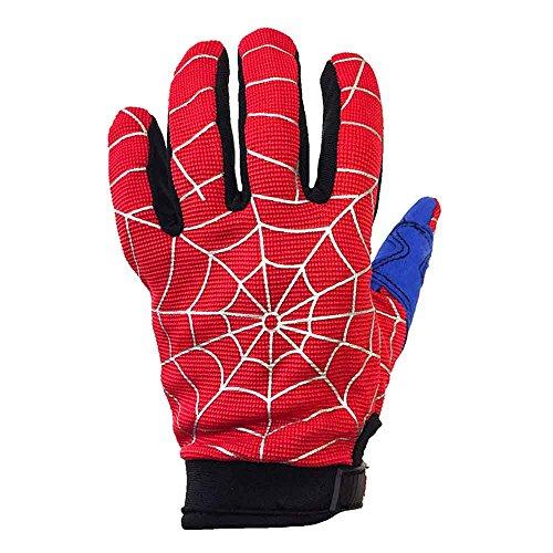 Typhoon Youth Kids Motocross Motorcycle ATV Dirt Bike Gloves - Blue Red Spiderman - Small -