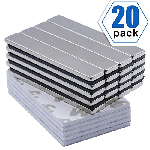 Powerful Neodymium Bar Magnets, Rare-Earth Metal Neodymium Magnet - 60 x 10 x 3 mm, Pack of 20