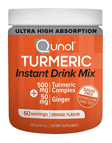 (Qunol Turmeric Curcumin Instant Drink Mix, Ultra High Absorption, 500mg + 50mg Ginger, Anti-Inflammatory & Joint Support, Dietary Supplement, 60)