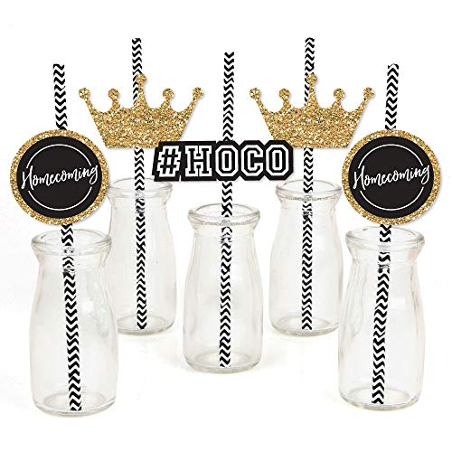HOCO Dance - Paper Straw Decor - Homecoming Striped Decorative Straws - Set of 24 by Big Dot of Happiness