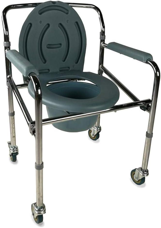 Mobiclinic, Muelle, Silla con WC o inodoro para minusválidos, ancianos, discapacitados, Plegable, Reposabrazos, Asiento ergonómico, Conteras antideslizates
