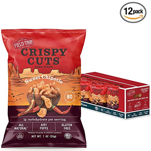 Field Trip Gluten Free, High Protein, Sweet Chipotle Pork Rinds, 1oz Bag, 12 Count