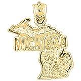 10K Yellow Gold Michigan Pendant - 26 mm