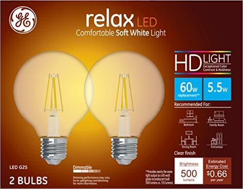 GE Lighting 31544 Clear Finish Light Bulb Relax HD Dimmable LED G25 Decorative Globe 5.5 (60-Watt Replacement), 500-Lumen Medium Base, 2-Pack Soft White 2