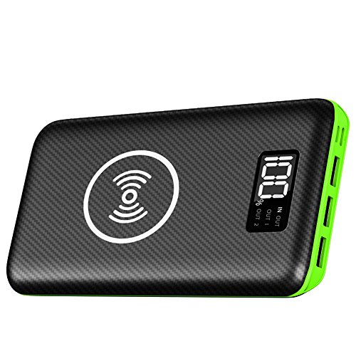 Portable Charger vitality Bank , KEDRON 24000mAh wireless Charger through LED Digital exhibit and 3 Outputs & double Inputs External Battery Pack for iPhone X,iPhone 8,Samsung Galaxy S8 Note 8 and additional (Green)