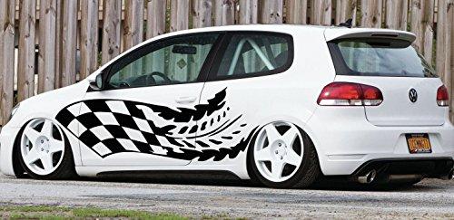 - Hot Ride Design Hot Rod Performance Tattoo Flames Tribal Checkered Flag Street Racing Racing Drift Tuned Car Vinyl Graphics SUV Tr192