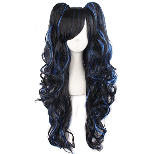 MapofBeauty-Multi-color-Lolita-Long-Curly-Clip-on-Ponytails-Cosplay-Wig