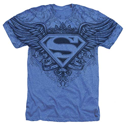 Popfunk Superman Winged S Shield Logo All Over T Shirt & Stickers (Medium) Blue
