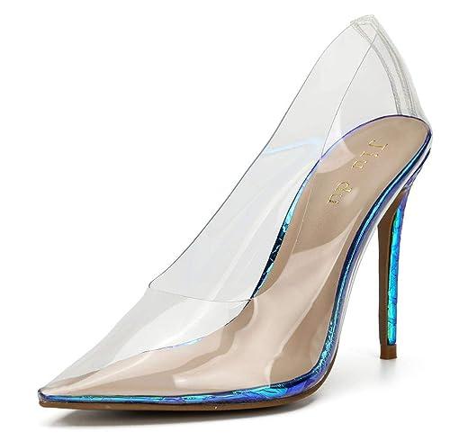 e3a4e373efd WSKEISP Womens Clear Heels Magic Color Pointed Toe Slip On High Heel Pumps  Transparent Dress Sandal Shoes