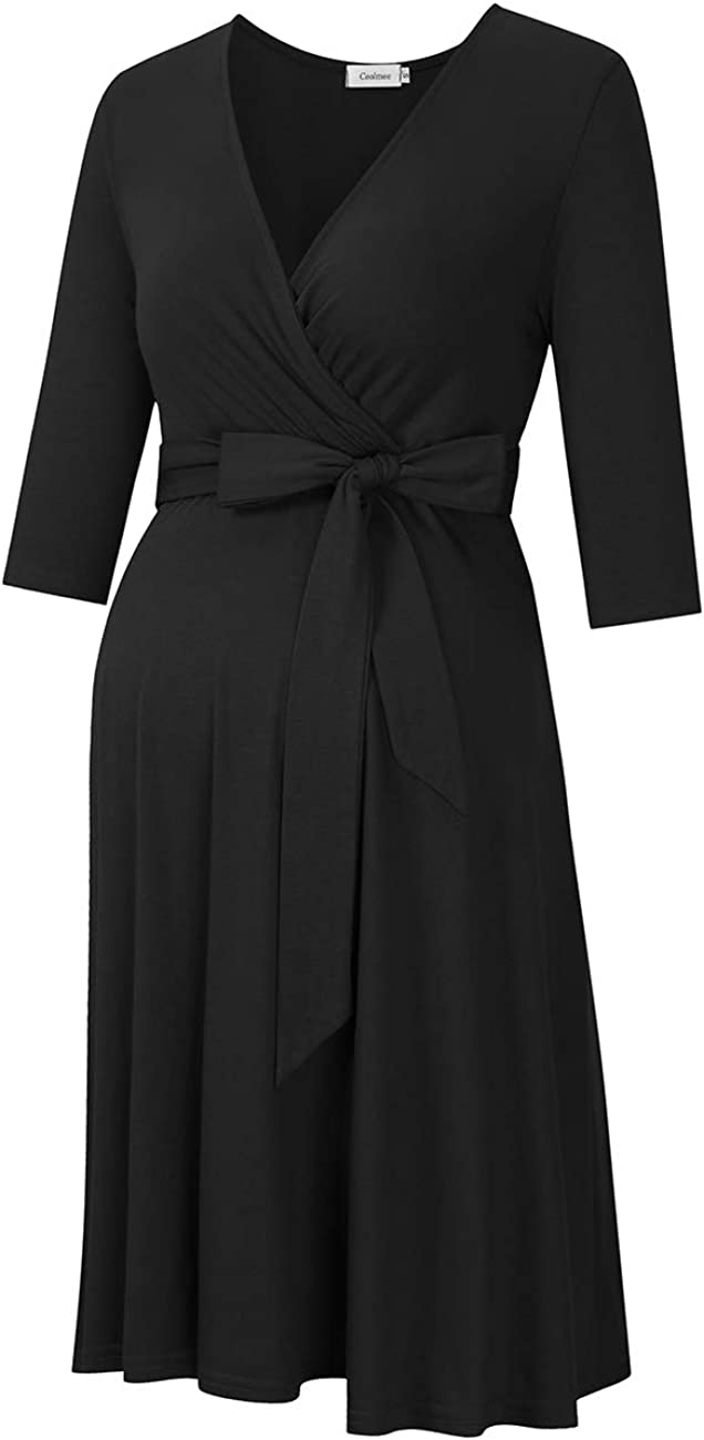 KOJOOIN Damen Umstandskleid Schwangerschafts Kleid f/ür Schwangere Stillkleid V-Ausschnitt Langarm mit Tailleng/ürtel(Verpackung MEHRWEG)