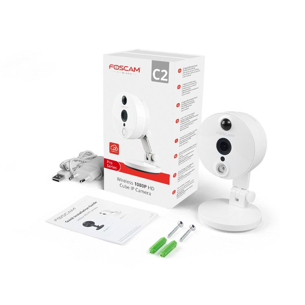 Foscam C2 Vigilancia Interior Version ESPA/ÑOLA. 8H GRABACI/ÓN EN LA Nube Gratis visi/ón Nocturna, Sesnsor infrarrojo de detecci/ón Movimiento C/ámara IP 1080P WiFi P2P,ONVIF,Slot microSD