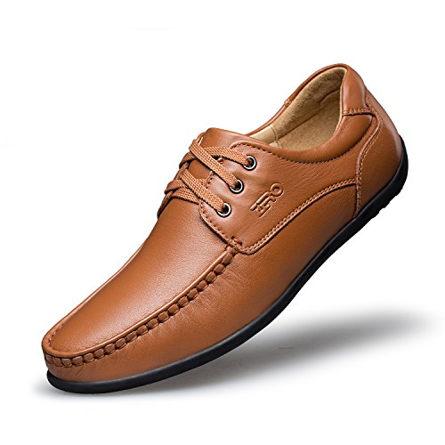 ZRO Men's Lace Up Leather Flats Moc Toe Casual Boat Shoe LIGHT BROWN US 6