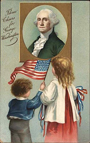 Old Original Art Painting - Children Looking at a Painting of George Washington Patriotic Original Vintage Postcard