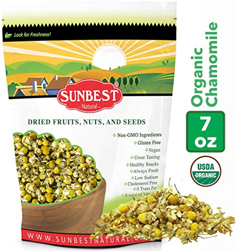 Sunbest Organic Chamomile Flowers, Egyptian, Whole / Loose, Caffeine Free, Herbal Leaf Tea - Relaxing Tea (7 Oz)